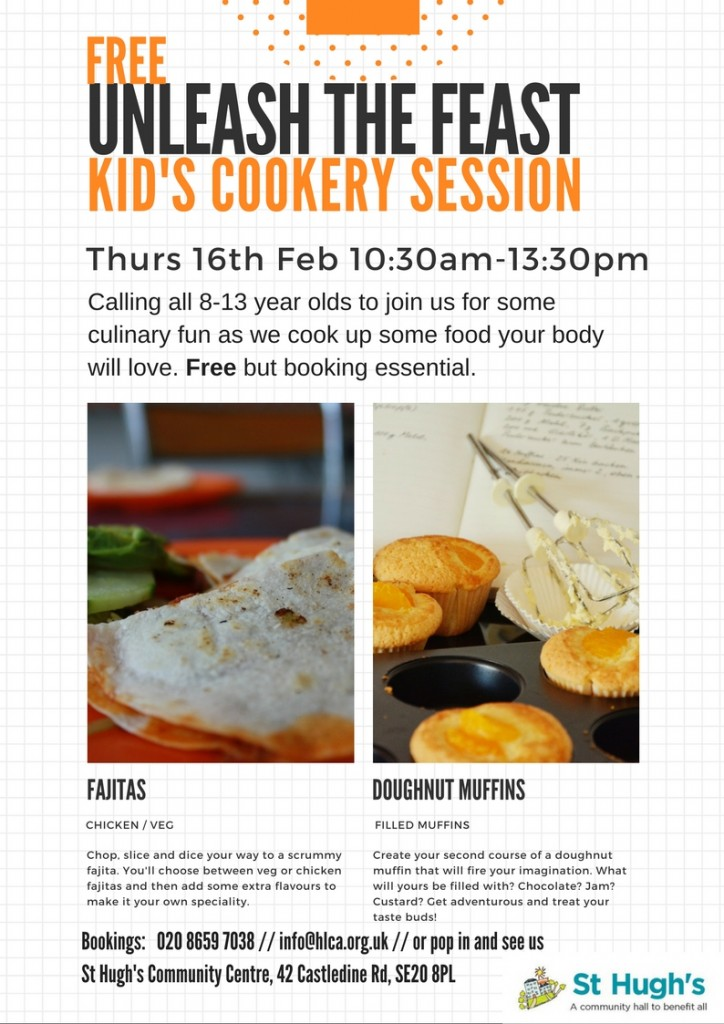 Kids Cookery - 10:30am to 1:30pm - Thursday 16th February 2017