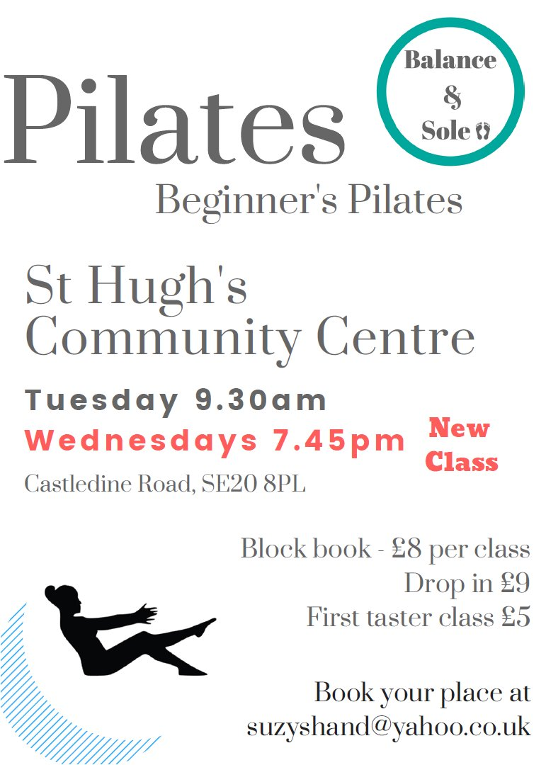 Suzy Pilates - Tuesdays & Wednesdays - Autumn 2018
